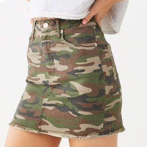 NWT Camo Denim Skirt